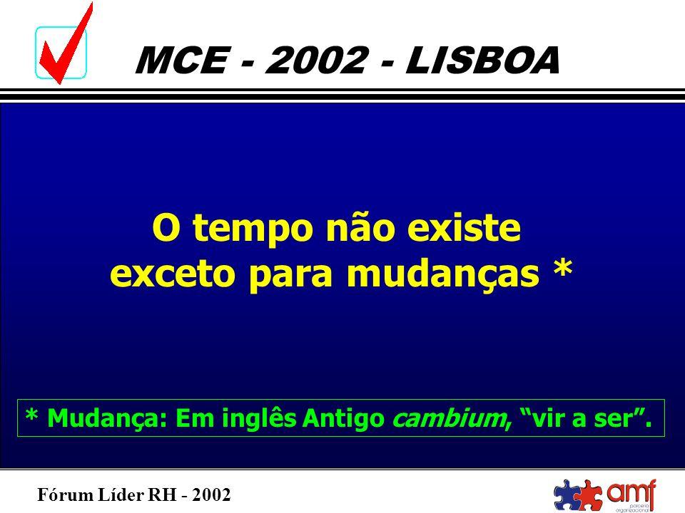 Fórum Líder RH - 2002 MCE - 2002 - LISBOA O tempo não existe exceto para mudanças * * Mudança: Em inglês Antigo cambium, vir a ser.