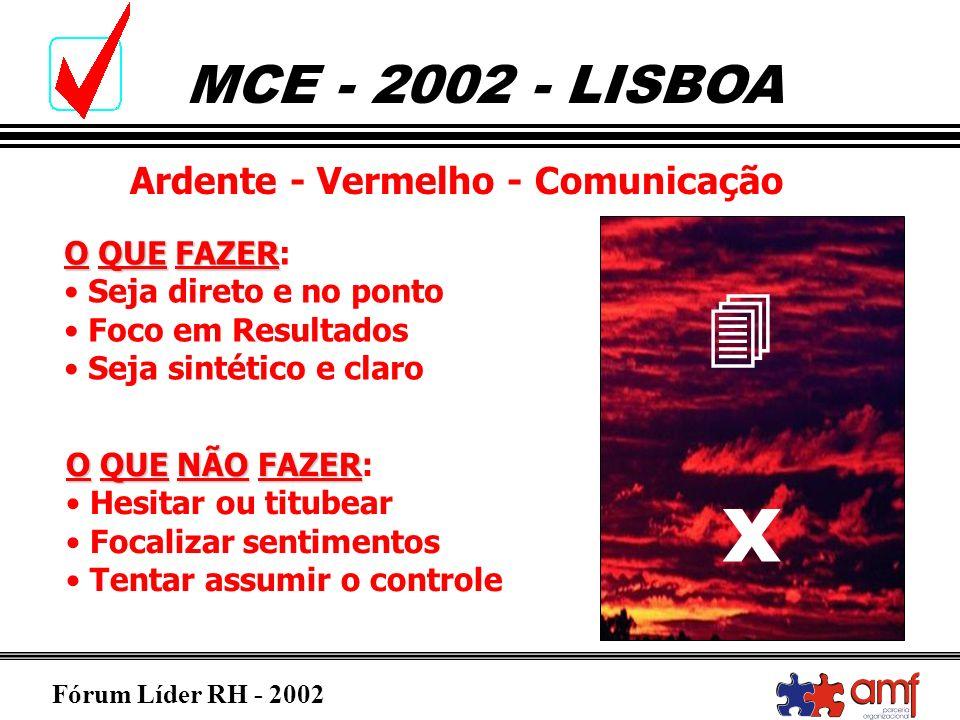 Fórum Líder RH - 2002 MCE - 2002 - LISBOA Ardente - Vermelho - Comunicação OQUEFAZER O QUE FAZER: Seja direto e no ponto Foco em Resultados Seja sinté