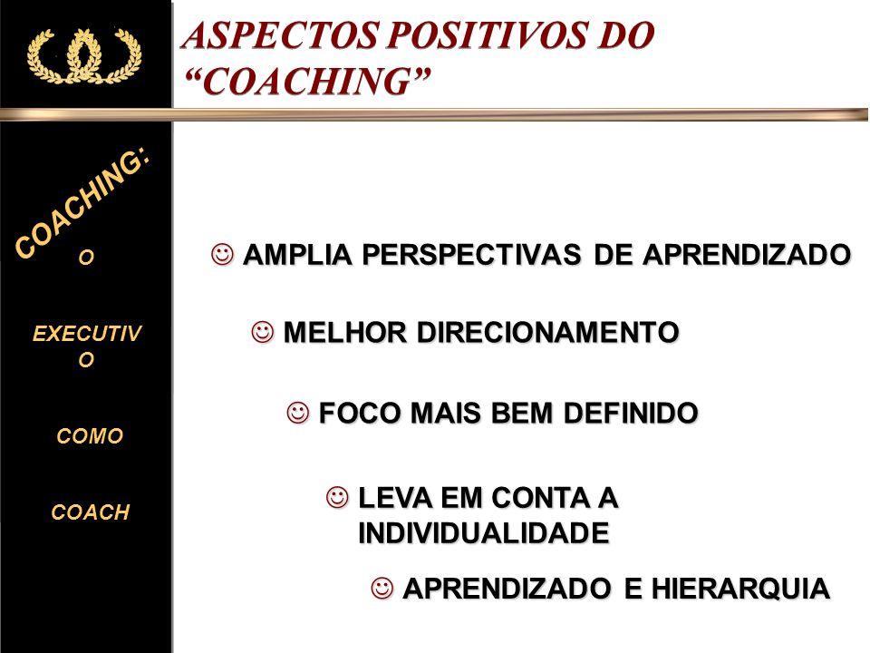 O EXECUTIV O COMO COACH O EXECUTIV O COMO COACH COACHING: ASPECTOS POSITIVOS DO COACHING RESULTADOS QUASE IMEDIATOS RESULTADOS QUASE IMEDIATOS CURTO PRAZO CURTO PRAZO APOIO À READAPTAÇÃO APOIO À READAPTAÇÃO RELAÇÃO DE DISCRIÇÃO RELAÇÃO DE DISCRIÇÃO EXCLUSIVIDADE EXCLUSIVIDADE REDUZIR RESISTÊNCIAS REDUZIR RESISTÊNCIAS