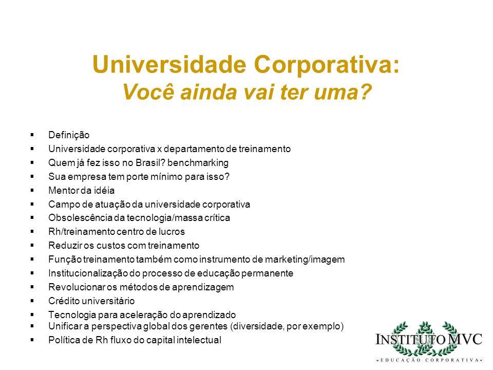 Universidade Corporativa: Você ainda vai ter uma? Definição Universidade corporativa x departamento de treinamento Quem já fez isso no Brasil? benchma