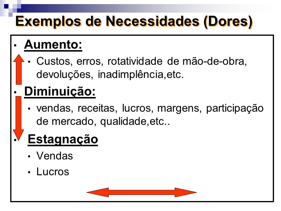 Exemplos de Necessidades (Dores) Aumento: Custos, erros, rotatividade de mão-de-obra, devoluções, inadimplência,etc. Diminuição: vendas, receitas, luc