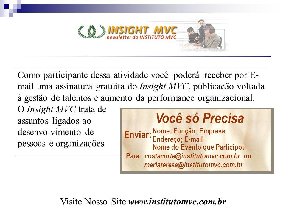 Como participante dessa atividade você poderá receber por E- mail uma assinatura gratuita do Insight MVC, publicação voltada à gestão de talentos e au