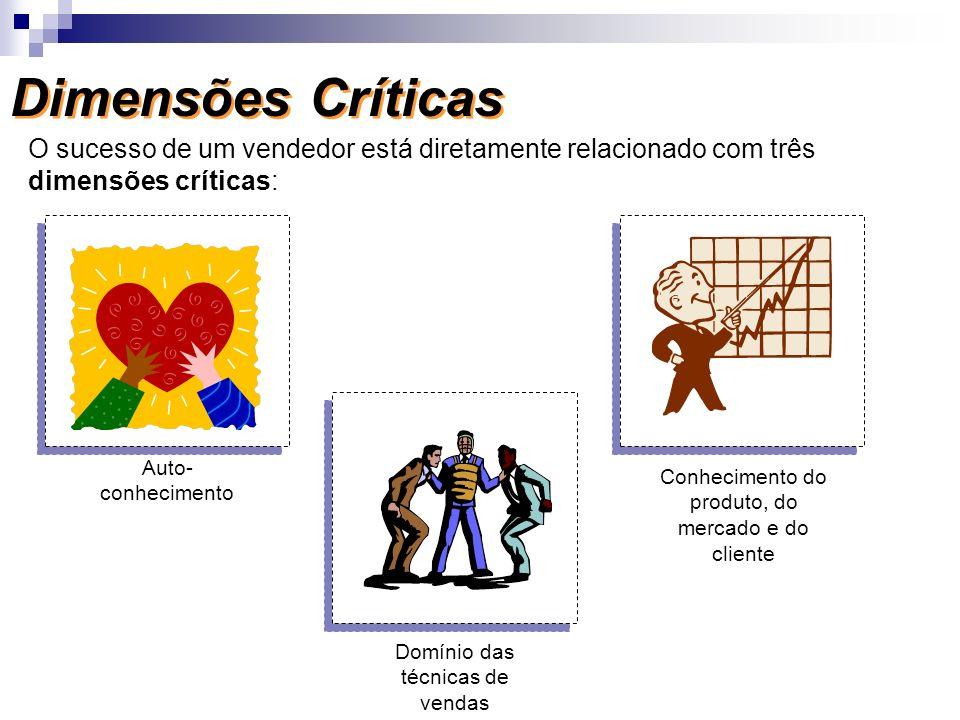 Dimensões Críticas O sucesso de um vendedor está diretamente relacionado com três dimensões críticas: Auto- conhecimento Domínio das técnicas de venda