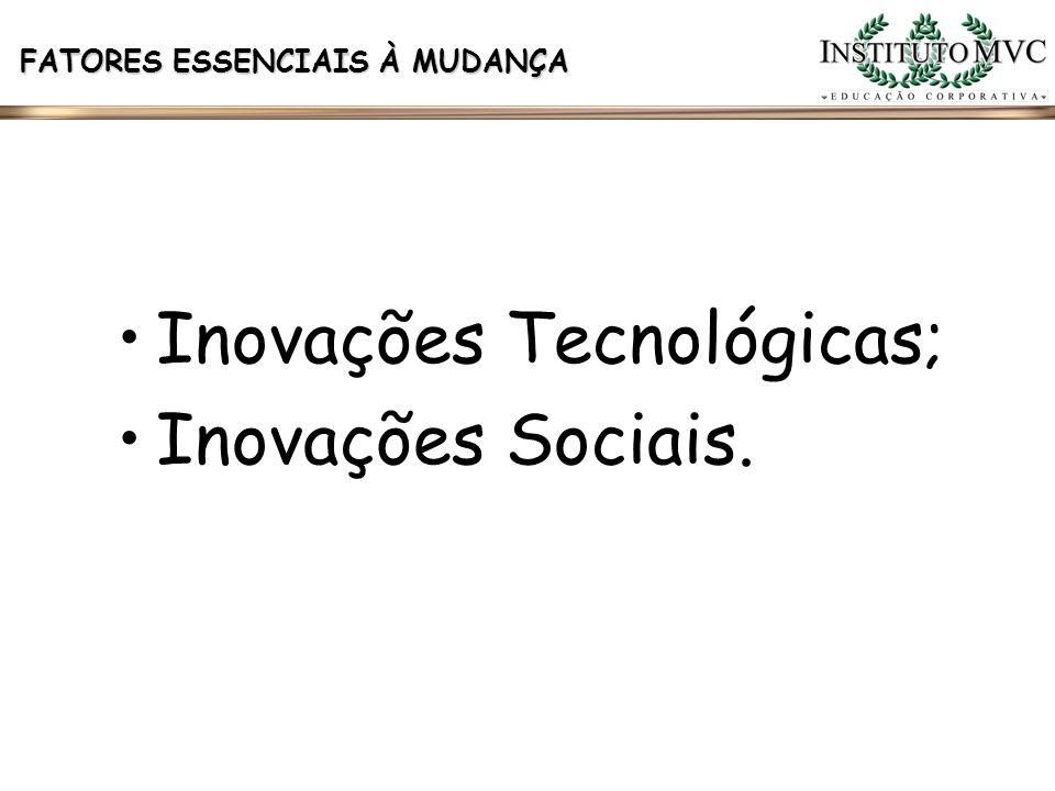 FATORES ESSENCIAIS À MUDANÇA Inovações Tecnológicas; Inovações Sociais.