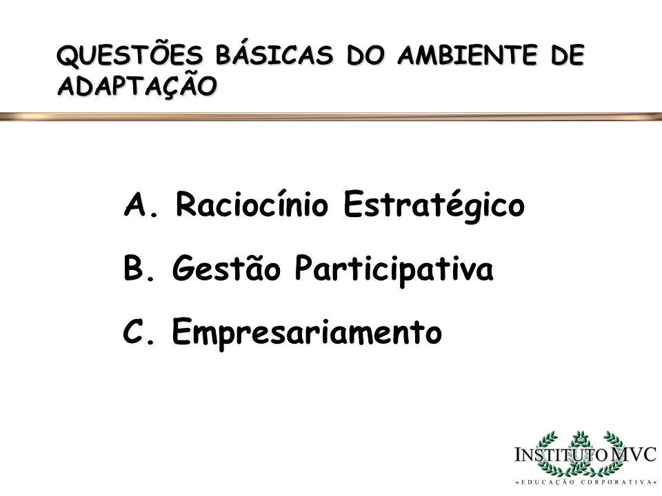 QUESTÕES BÁSICAS DO AMBIENTE DE ADAPTAÇÃO A. Raciocínio Estratégico B. Gestão Participativa C. Empresariamento