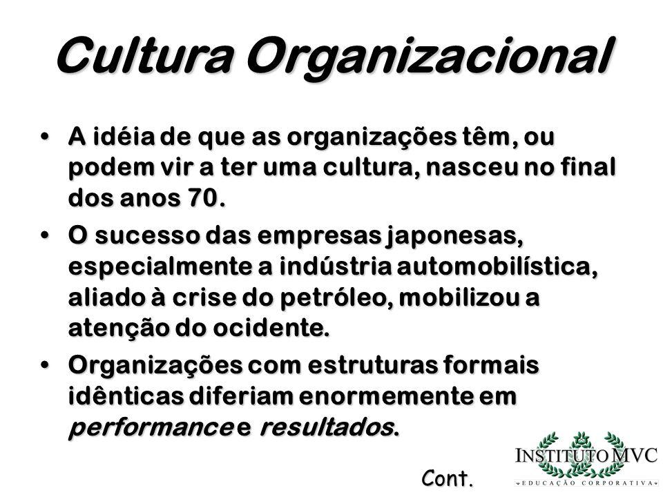 A idéia de que as organizações têm, ou podem vir a ter uma cultura, nasceu no final dos anos 70.A idéia de que as organizações têm, ou podem vir a ter