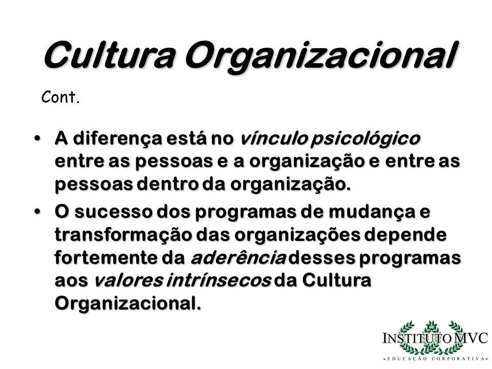 A diferença está no vínculo psicológico entre as pessoas e a organização e entre as pessoas dentro da organização.A diferença está no vínculo psicológ