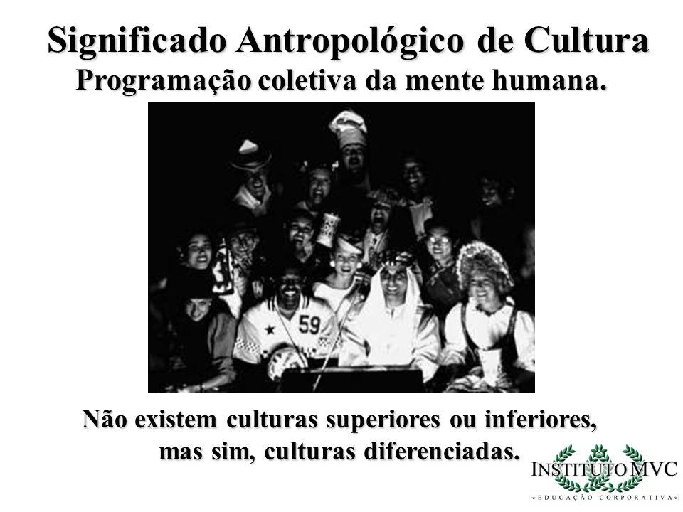 Significado Antropológico de Cultura Programação coletiva da mente humana. Não existem culturas superiores ou inferiores, mas sim, culturas diferencia