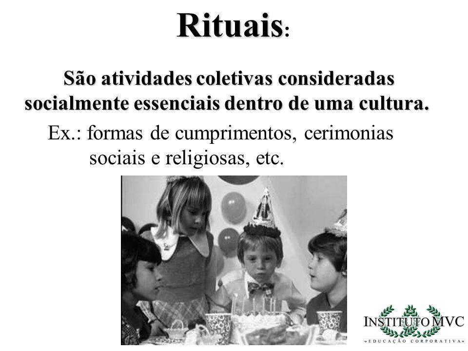 São atividades coletivas consideradas socialmente essenciais dentro de uma cultura. Rituais Rituais : Ex.: formas de cumprimentos, cerimonias sociais