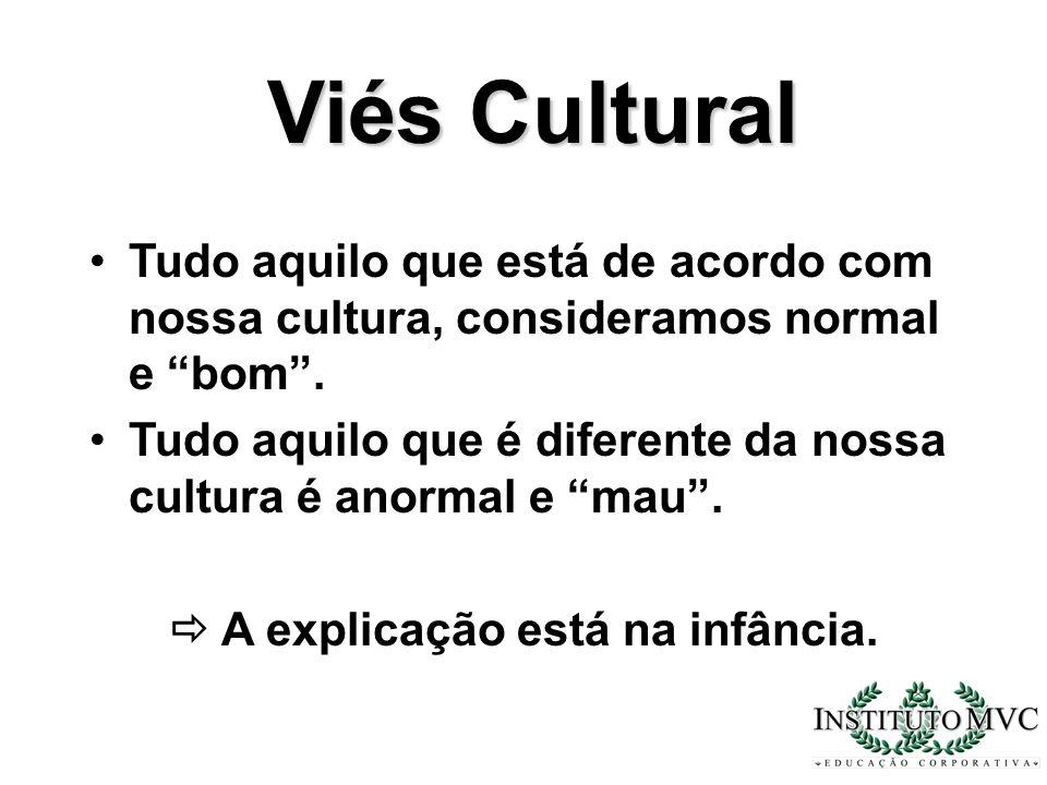 Viés Cultural Tudo aquilo que está de acordo com nossa cultura, consideramos normal e bom. Tudo aquilo que é diferente da nossa cultura é anormal e ma