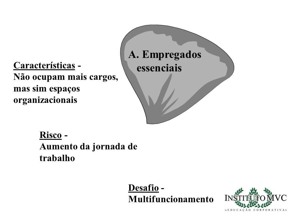 A. Empregados essenciais Características - Não ocupam mais cargos, mas sim espaços organizacionais Risco - Aumento da jornada de trabalho Desafio - Mu