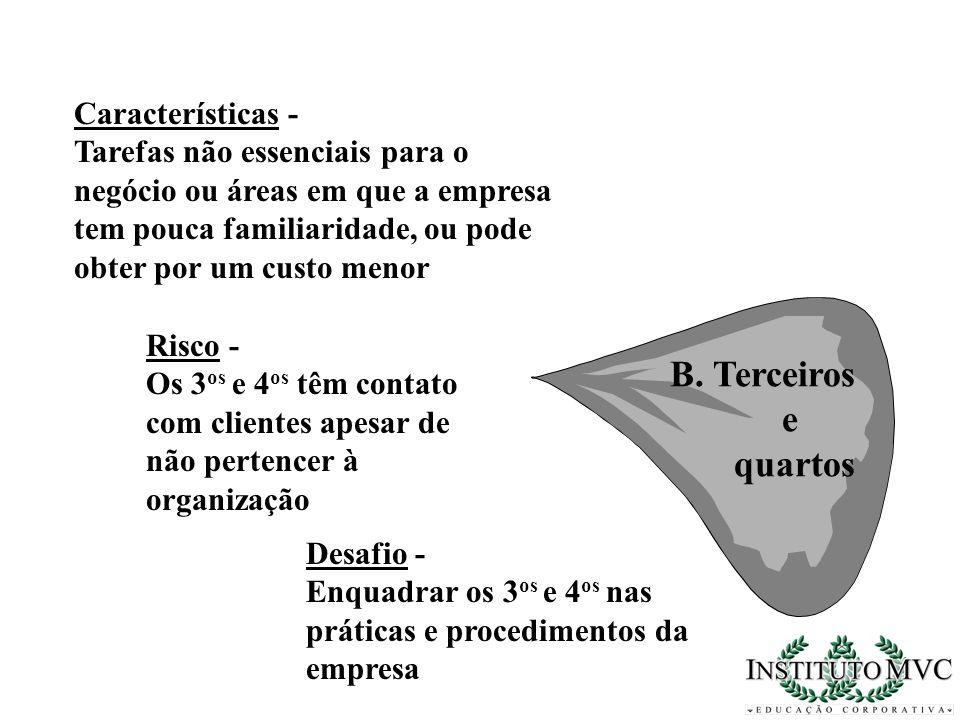B. Terceiros e quartos Características - Tarefas não essenciais para o negócio ou áreas em que a empresa tem pouca familiaridade, ou pode obter por um