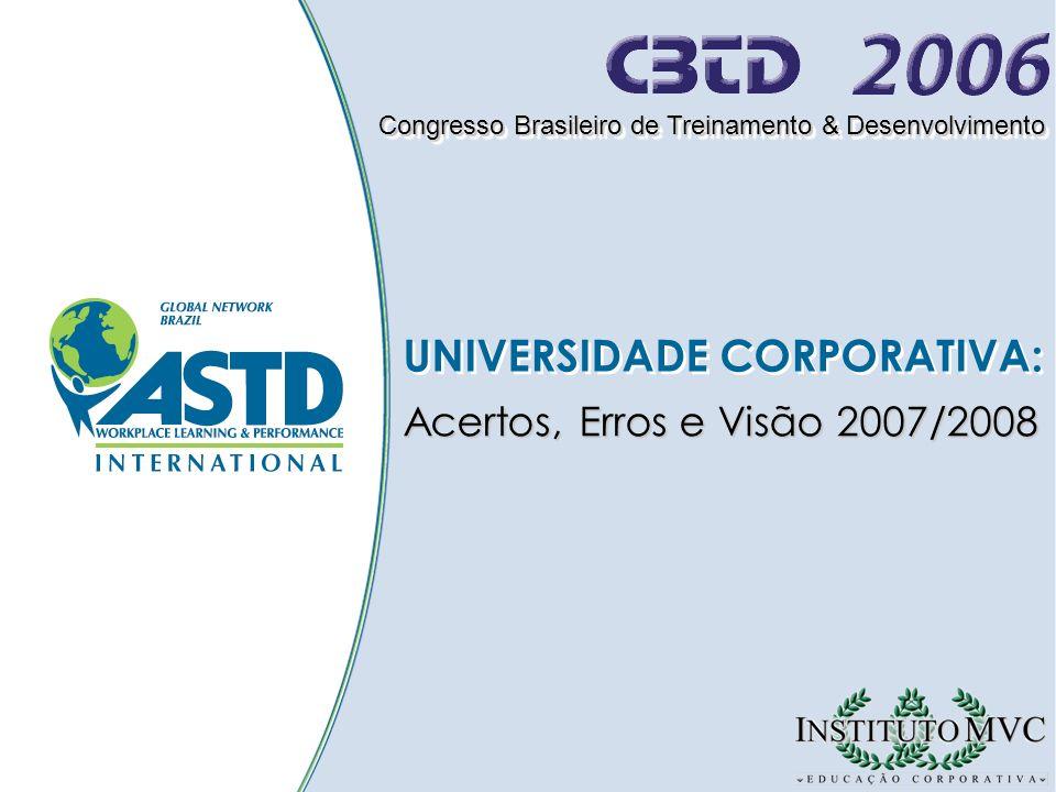UNIVERSIDADE CORPORATIVA: Congresso Brasileiro de Treinamento & Desenvolvimento Acertos, Erros e Visão 2007/2008