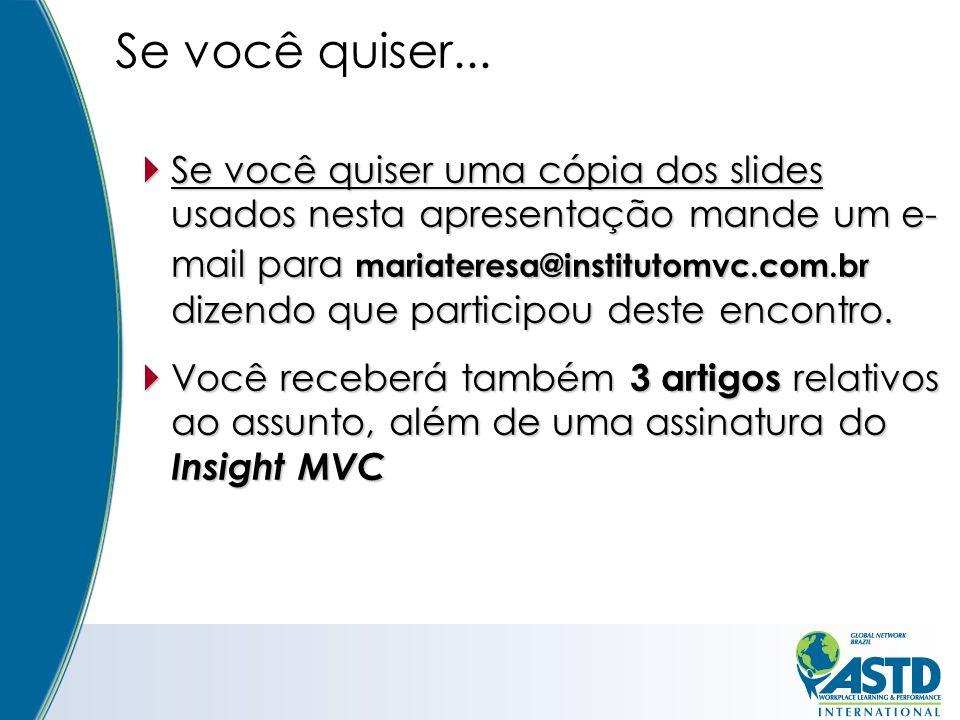 Se você quiser uma cópia dos slides usados nesta apresentação mande um e- mail para mariateresa@institutomvc.com.br dizendo que participou deste encontro.