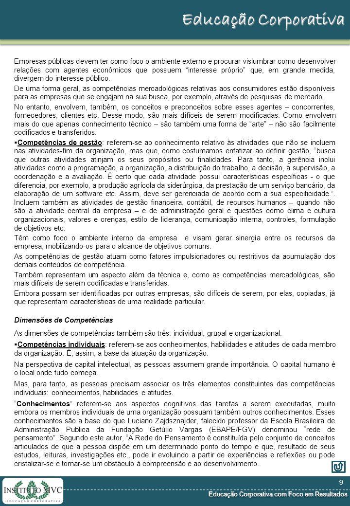 Educação Corporativa com Foco em Resultados Educação Corporativa com Foco em Resultados Educação Corporativa Esse documento define, preliminarmente, a metodologia e as etapas, para o desenvolvimento e implantação da o CLIENTE.