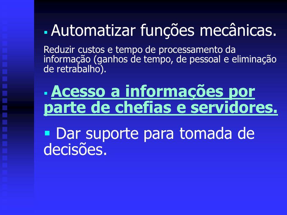 Automatizar funções mecânicas. Reduzir custos e tempo de processamento da informação (ganhos de tempo, de pessoal e eliminação de retrabalho). Acesso