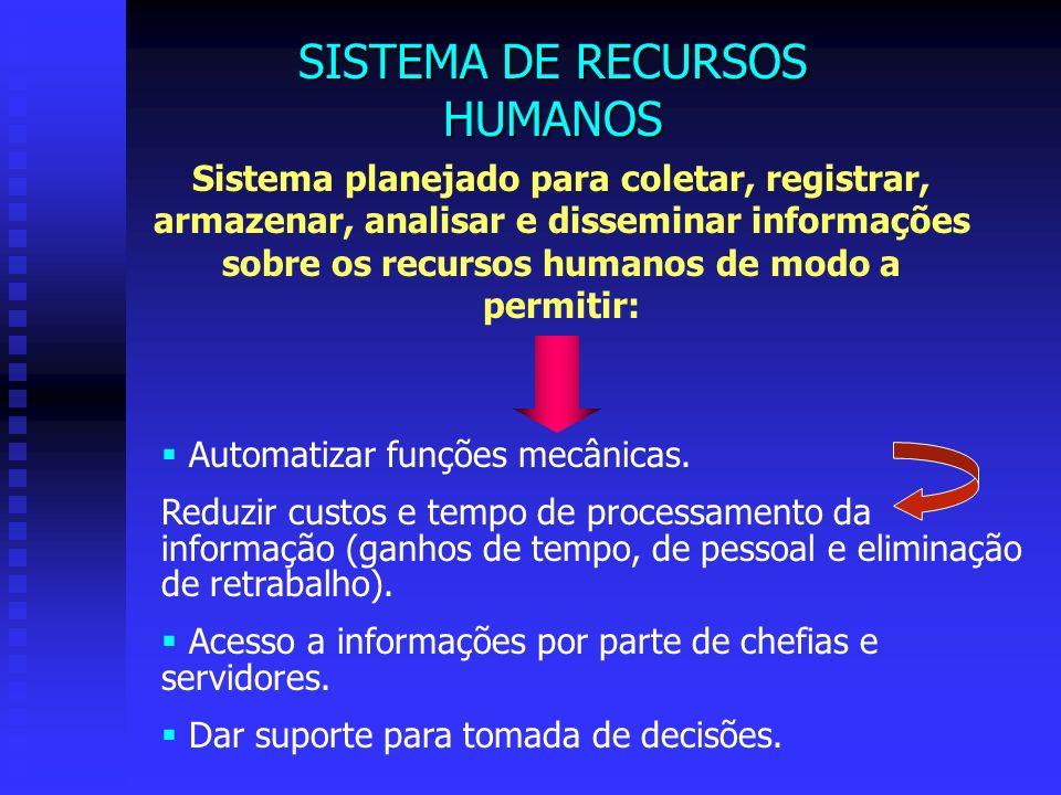 Sistema planejado para coletar, registrar, armazenar, analisar e disseminar informações sobre os recursos humanos de modo a permitir: Automatizar funç