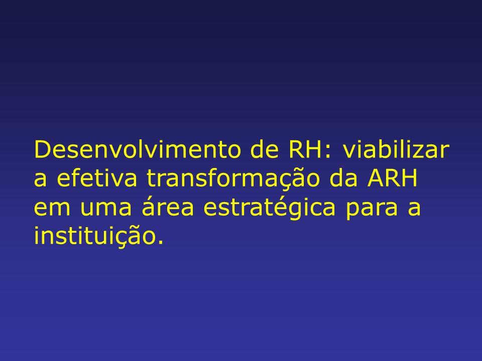 Desenvolvimento de RH: viabilizar a efetiva transformação da ARH em uma área estratégica para a instituição.