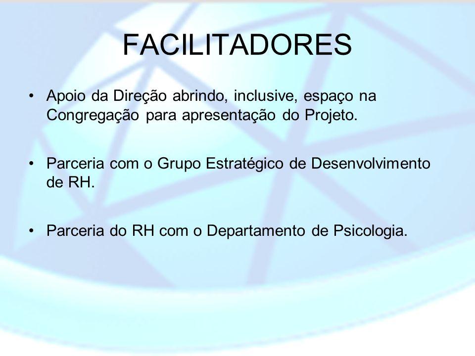 FACILITADORES Apoio da Direção abrindo, inclusive, espaço na Congregação para apresentação do Projeto. Parceria com o Grupo Estratégico de Desenvolvim