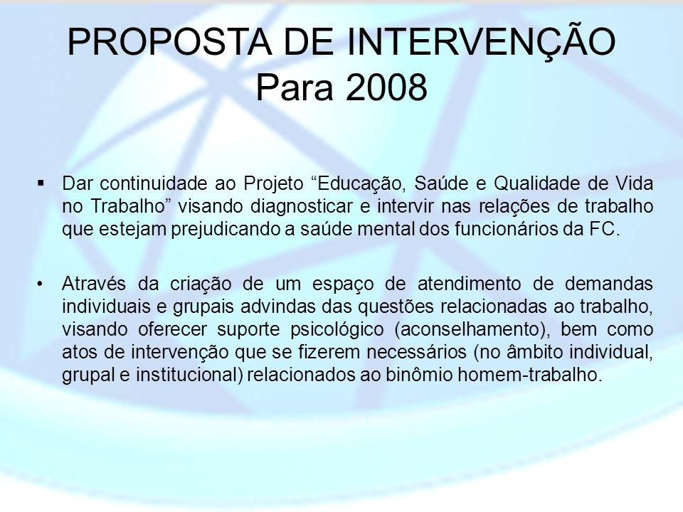 PROPOSTA DE INTERVENÇÃO Para 2008 Dar continuidade ao Projeto Educação, Saúde e Qualidade de Vida no Trabalho visando diagnosticar e intervir nas rela