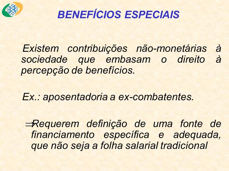 BENEFÍCIOS ESPECIAIS Existem contribuições não-monetárias à sociedade que embasam o direito à percepção de benefícios. Ex.: aposentadoria a ex-combate