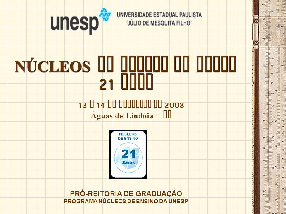 NÚCLEOS DE ENSINO DA UNESP 21 ANOS PRÓ-REITORIA DE GRADUAÇÃO PROGRAMA NÚCLEOS DE ENSINO DA UNESP 13 e 14 de novembro de 2008 Águas de Lindóia – SP