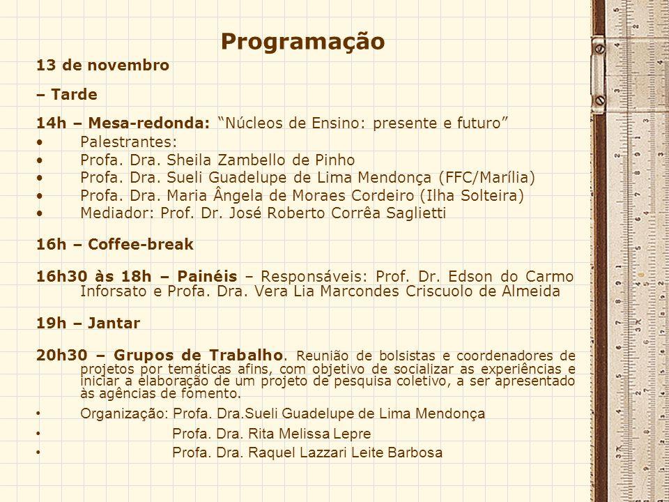 Programação 13 de novembro – Tarde 14h – Mesa-redonda: Núcleos de Ensino: presente e futuro Palestrantes: Profa.