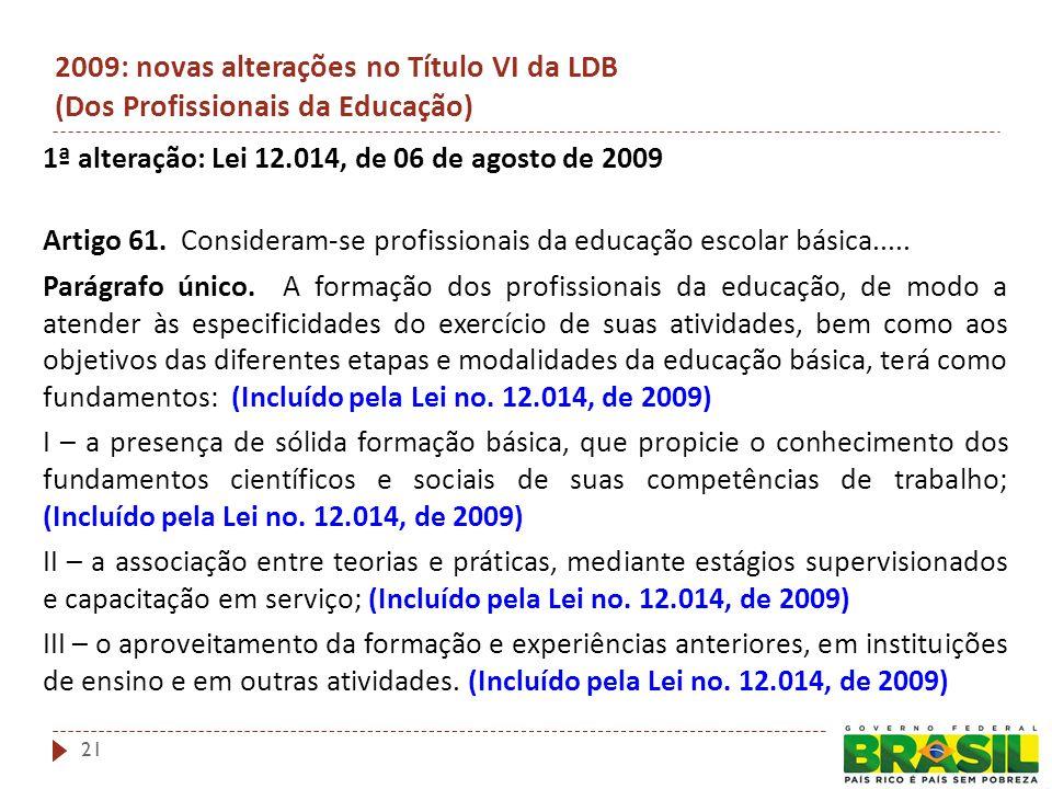 2009: novas alterações no Título VI da LDB (Dos Profissionais da Educação) 1ª alteração: Lei 12.014, de 06 de agosto de 2009 Artigo 61.