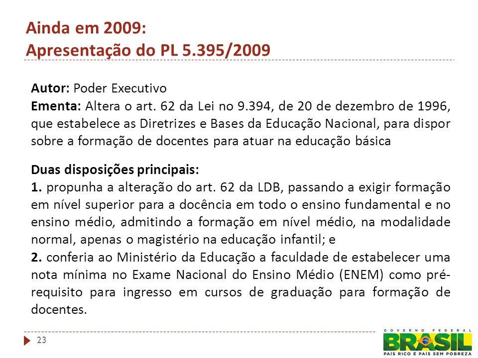 Autor: Poder Executivo Ementa: Altera o art. 62 da Lei no 9.394, de 20 de dezembro de 1996, que estabelece as Diretrizes e Bases da Educação Nacional,