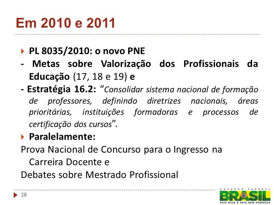 Em 2010 e 2011 PL 8035/2010: o novo PNE - Metas sobre Valorização dos Profissionais da Educação (17, 18 e 19) e - Estratégia 16.2: Consolidar sistema nacional de formação de professores, definindo diretrizes nacionais, áreas prioritárias, instituições formadoras e processos de certificação dos cursos.