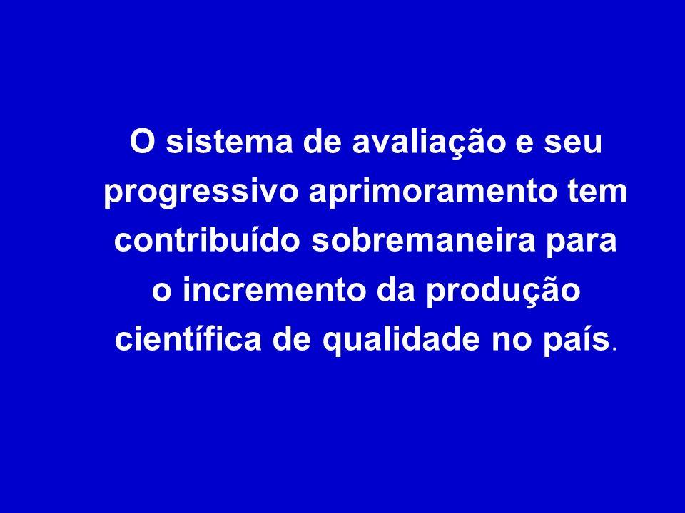 O sistema de avaliação e seu progressivo aprimoramento tem contribuído sobremaneira para o incremento da produção científica de qualidade no país.