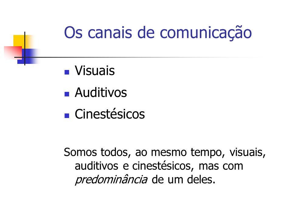 Os canais de comunicação Visuais Auditivos Cinestésicos Somos todos, ao mesmo tempo, visuais, auditivos e cinestésicos, mas com predominância de um deles.