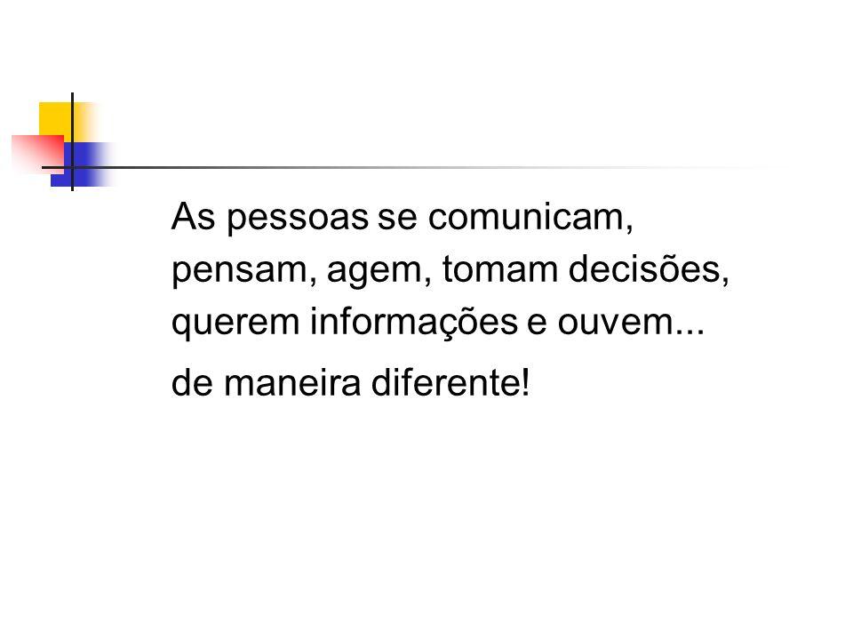 As pessoas se comunicam, pensam, agem, tomam decisões, querem informações e ouvem...
