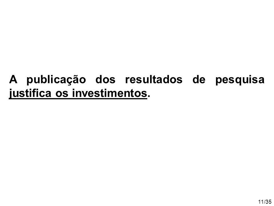 11/35 A publicação dos resultados de pesquisa justifica os investimentos.