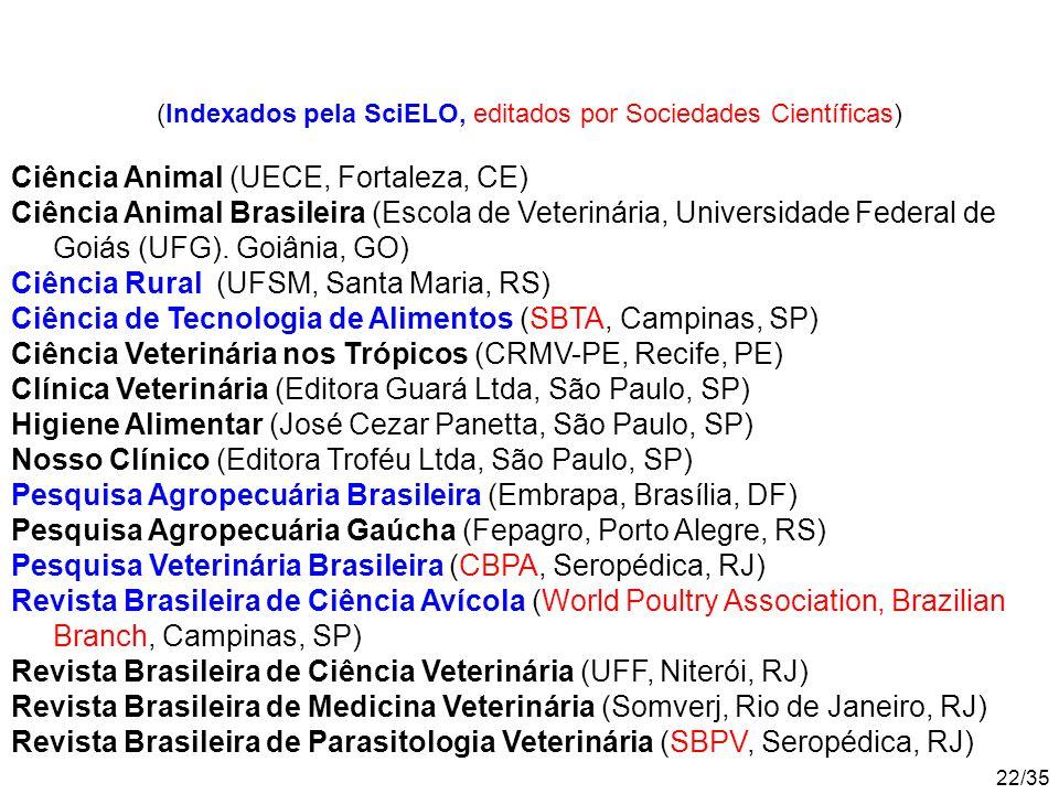 22/35 Ciência Animal (UECE, Fortaleza, CE) Ciência Animal Brasileira (Escola de Veterinária, Universidade Federal de Goiás (UFG).
