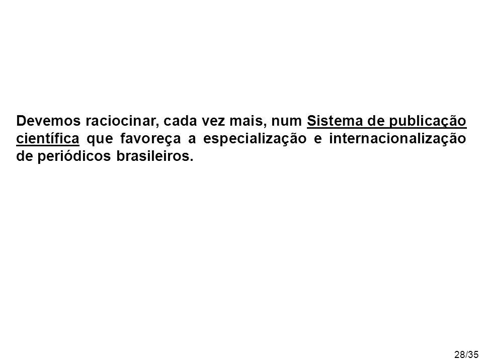28/35 Devemos raciocinar, cada vez mais, num Sistema de publicação científica que favoreça a especialização e internacionalização de periódicos brasileiros.
