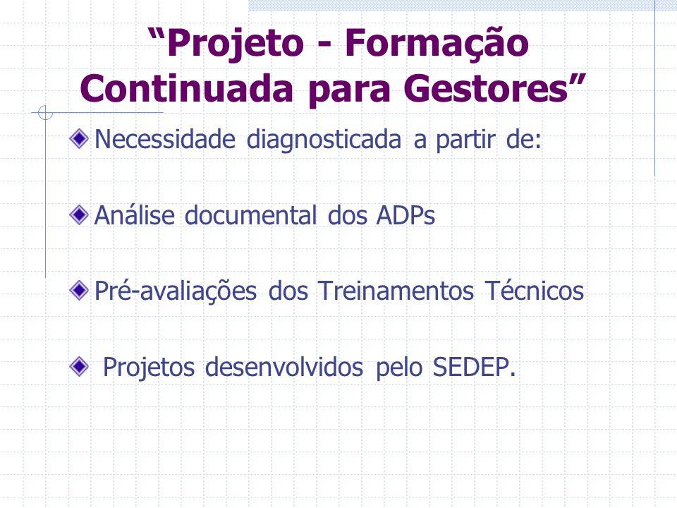 Projeto - Formação Continuada para Gestores Necessidade diagnosticada a partir de: Análise documental dos ADPs Pré-avaliações dos Treinamentos Técnicos Projetos desenvolvidos pelo SEDEP.