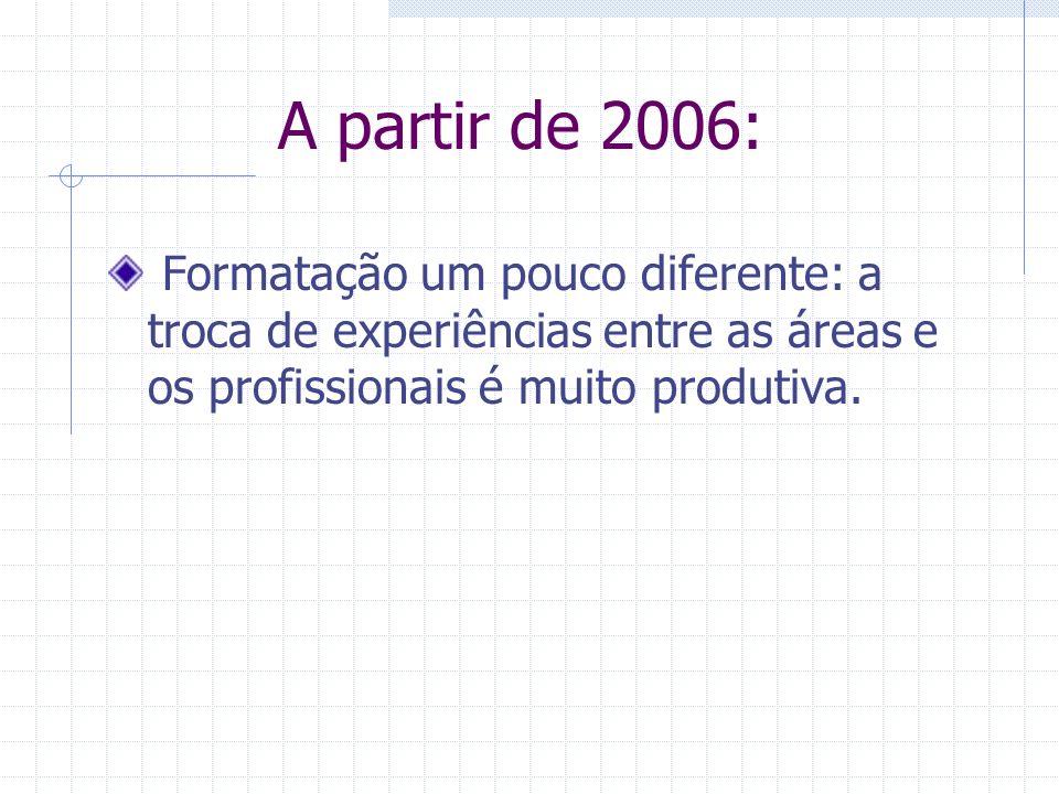 A partir de 2006: Formatação um pouco diferente: a troca de experiências entre as áreas e os profissionais é muito produtiva.