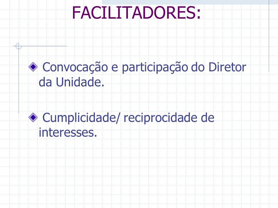 FACILITADORES: Convocação e participação do Diretor da Unidade.