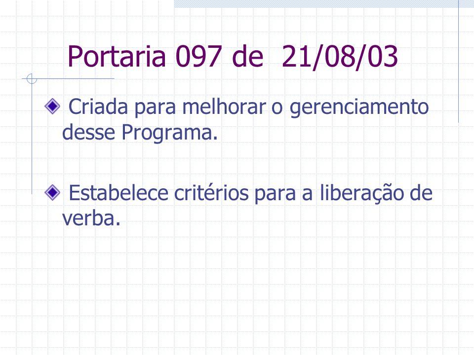 Portaria 097 de 21/08/03 Criada para melhorar o gerenciamento desse Programa.