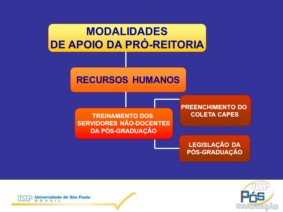 MODALIDADES DE APOIO DA PRÓ-REITORIA RECURSOS HUMANOS TREINAMENTO DOS SERVIDORES NÃO-DOCENTES DA PÓS-GRADUAÇÃO LEGISLAÇÃO DA PÓS-GRADUAÇÃO PREENCHIMENTO DO COLETA CAPES