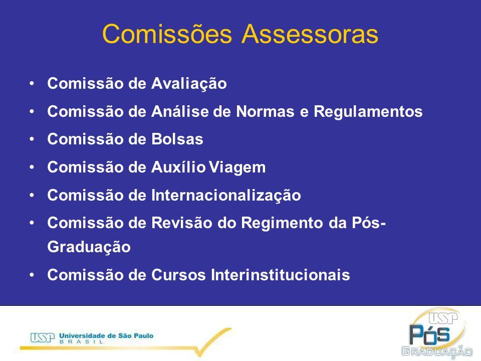 Comissões Assessoras Comissão de Avaliação Comissão de Análise de Normas e Regulamentos Comissão de Bolsas Comissão de Auxílio Viagem Comissão de Internacionalização Comissão de Revisão do Regimento da Pós- Graduação Comissão de Cursos Interinstitucionais