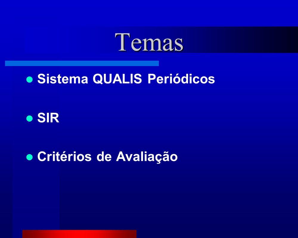 Temas Sistema QUALIS Periódicos SIR Critérios de Avaliação