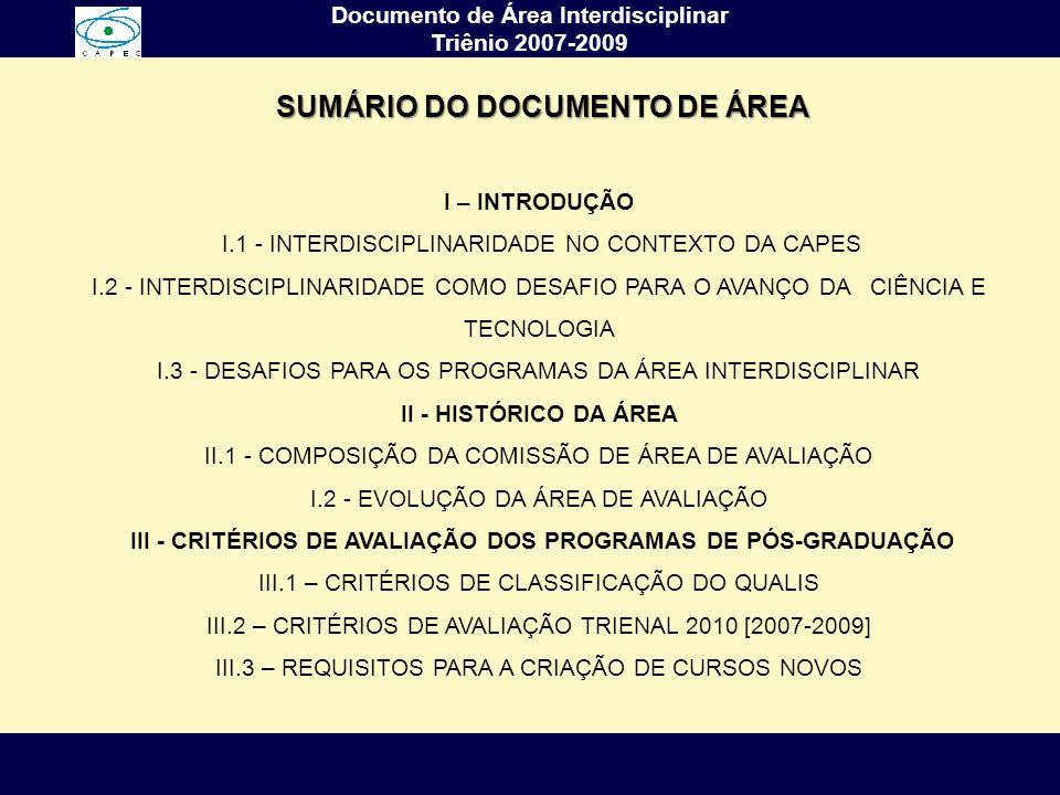 Documento de Área Interdisciplinar Triênio 2007-2009 I – INTRODUÇÃO I.1 - INTERDISCIPLINARIDADE NO CONTEXTO DA CAPES I.2 - INTERDISCIPLINARIDADE COMO