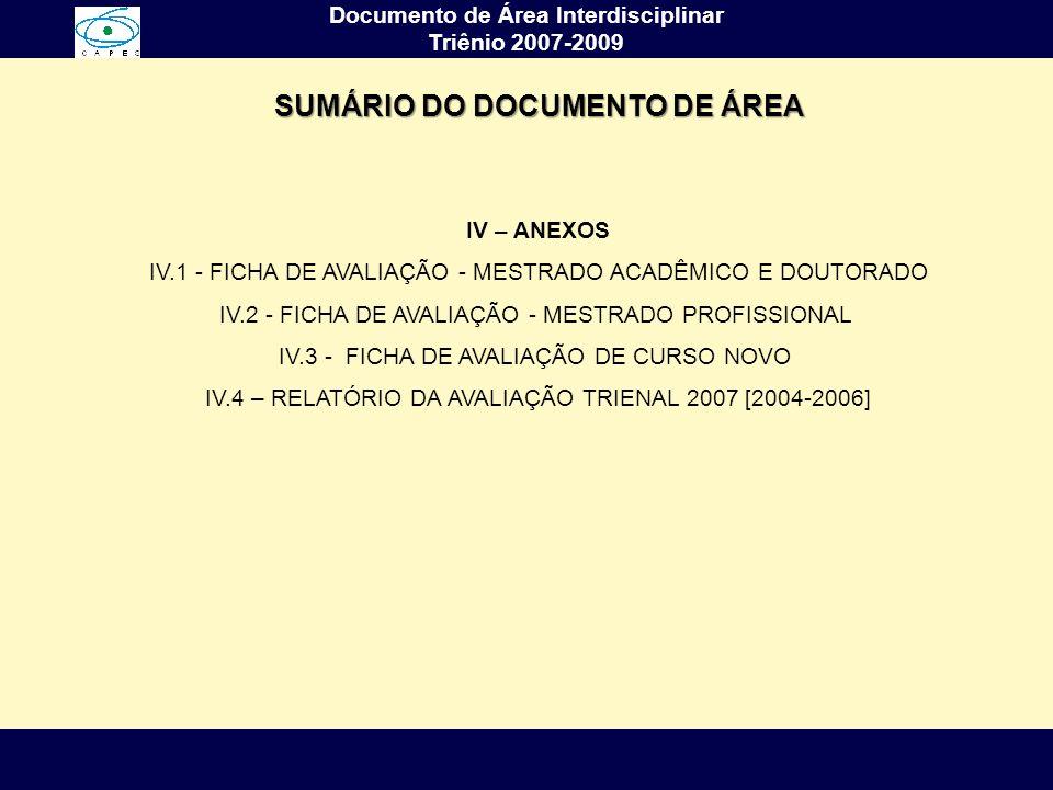 Complexidade, Interdisciplinaridade e Saber Ambiental Arlindo Philippi Jr. Documento de Área Interdisciplinar Triênio 2007-2009 IV – ANEXOS IV.1 - FIC