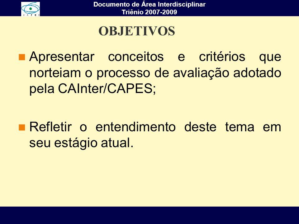 Documento de Área Interdisciplinar Triênio 2007-2009 OBJETIVOS Apresentar conceitos e critérios que norteiam o processo de avaliação adotado pela CAIn