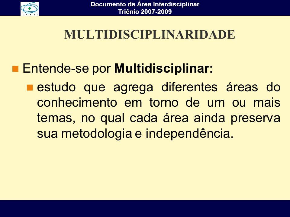 Documento de Área Interdisciplinar Triênio 2007-2009 MULTIDISCIPLINARIDADE Entende-se por Multidisciplinar: estudo que agrega diferentes áreas do conh