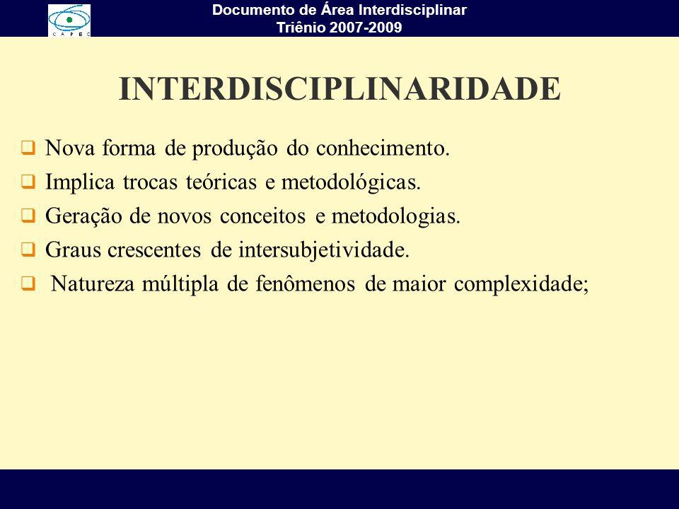 Documento de Área Interdisciplinar Triênio 2007-2009 INTERDISCIPLINARIDADE Nova forma de produção do conhecimento. Implica trocas teóricas e metodológ