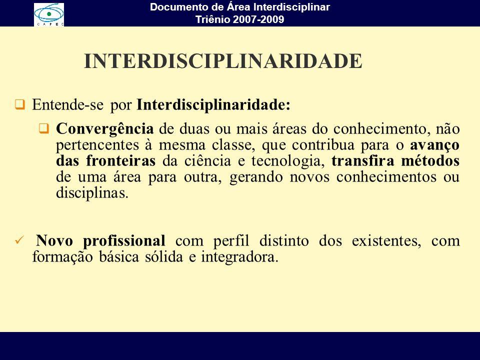 Documento de Área Interdisciplinar Triênio 2007-2009 Enfrentamento de novas perspectivas teórico-metodológicas de pesquisa, ensino e inovação que conduzam para além do paradigma predominante na ciência tradicional, nas novas e atuais propostas dos programas da área; Incorporação de metodologias interdisciplinares nos projetos de pesquisa dos docentes e discentes; DESAFIOS DA ÁREA INTERDISCIPLINAR
