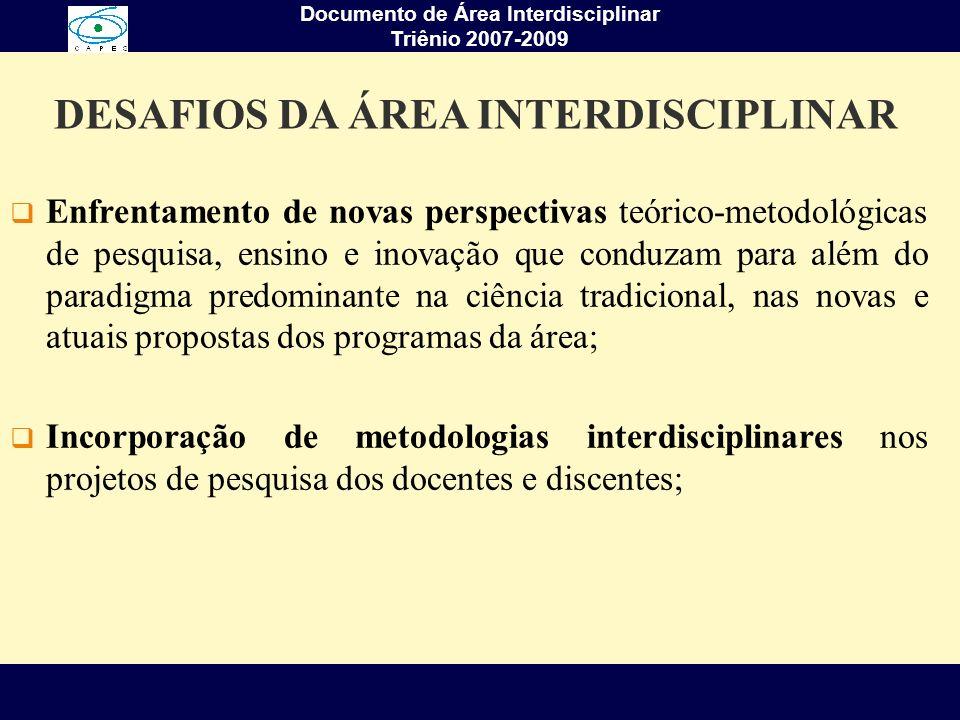 Documento de Área Interdisciplinar Triênio 2007-2009 Aprofundar características definidoras dos conceitos de pluri, multi, e interdisciplinaridade, seus diferentes contextos teórico- metodológicos, tendo em vista suas relações e diferenciações, possibilidades e limites; Embasar propostas de ensino e pesquisa, com linhas inovadoras e as avaliações dos diferentes programas da Área Interdisciplinar; Identificar canais para intensificação do diálogo inter e intra câmaras temáticas da Área Interdisciplinar, para trocas de experiências entre programas e para divulgação do conhecimento interdisciplinar gerado.